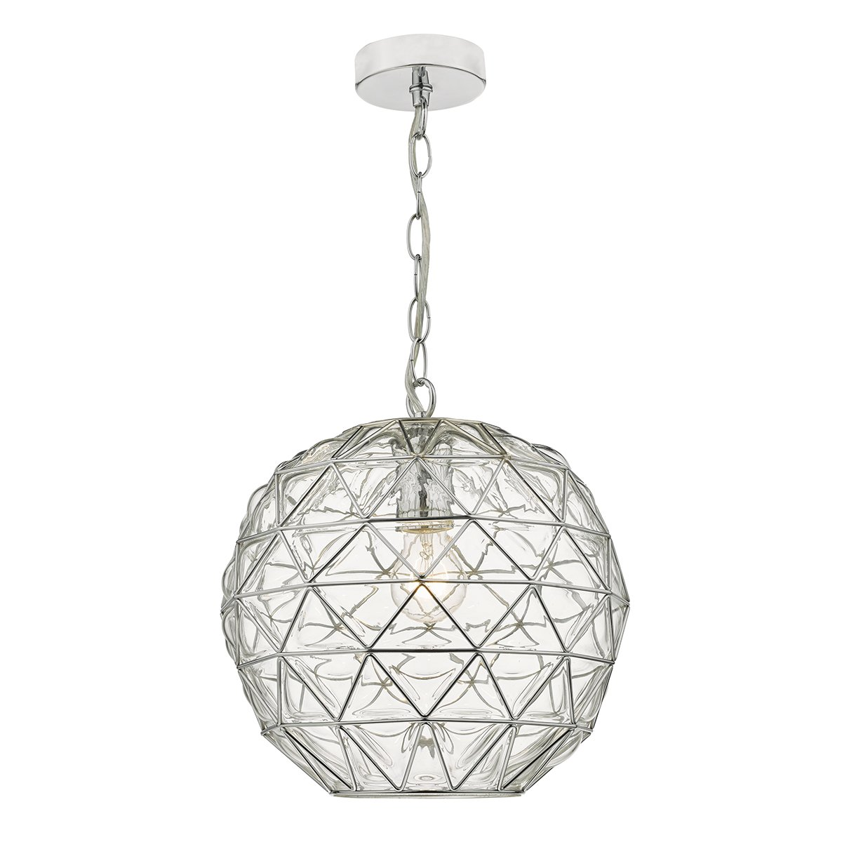 Dar ENG0108 Engela 1 Light Pendant in Polished Chrome