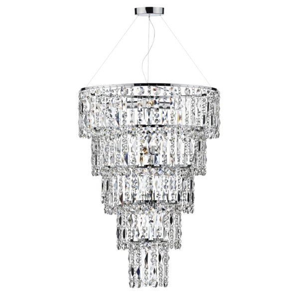Dar ESC0650 Escala 6 Light Pendant in Polished Chrome.