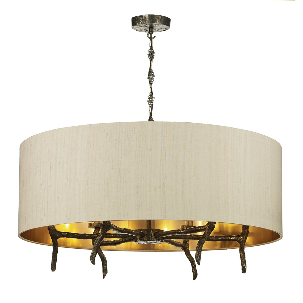 David Hunt Lighting JOS0601 Joshua 6 Light Pendant in Bronze complete with Shade