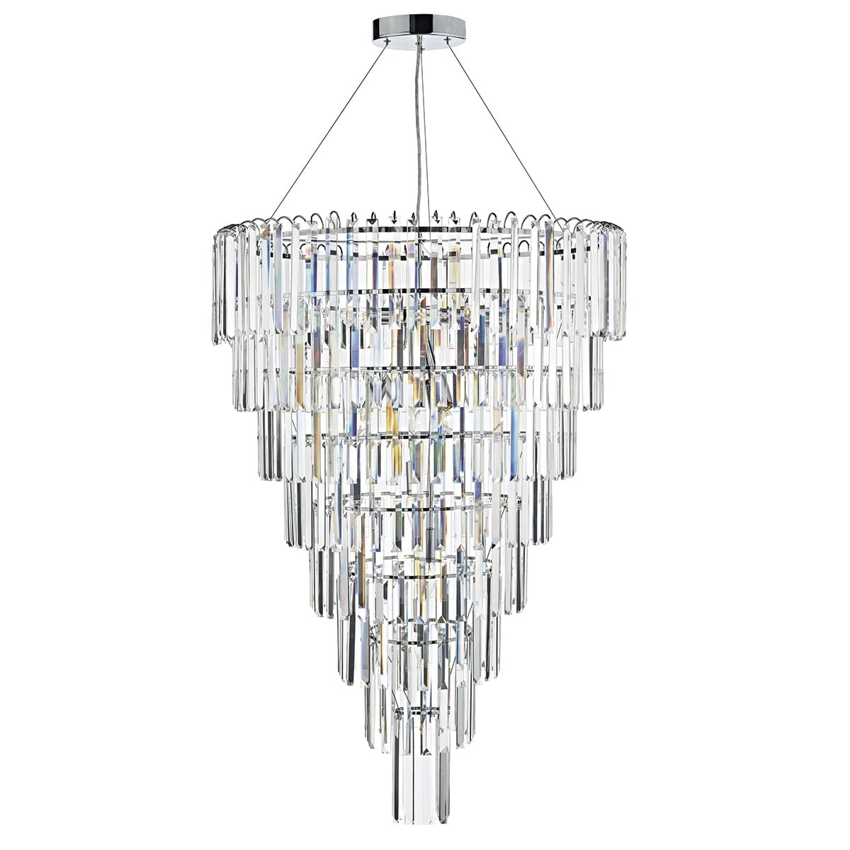 Dar JUP1250 Jupiter 12 Light Pendant in Polished Chrome.