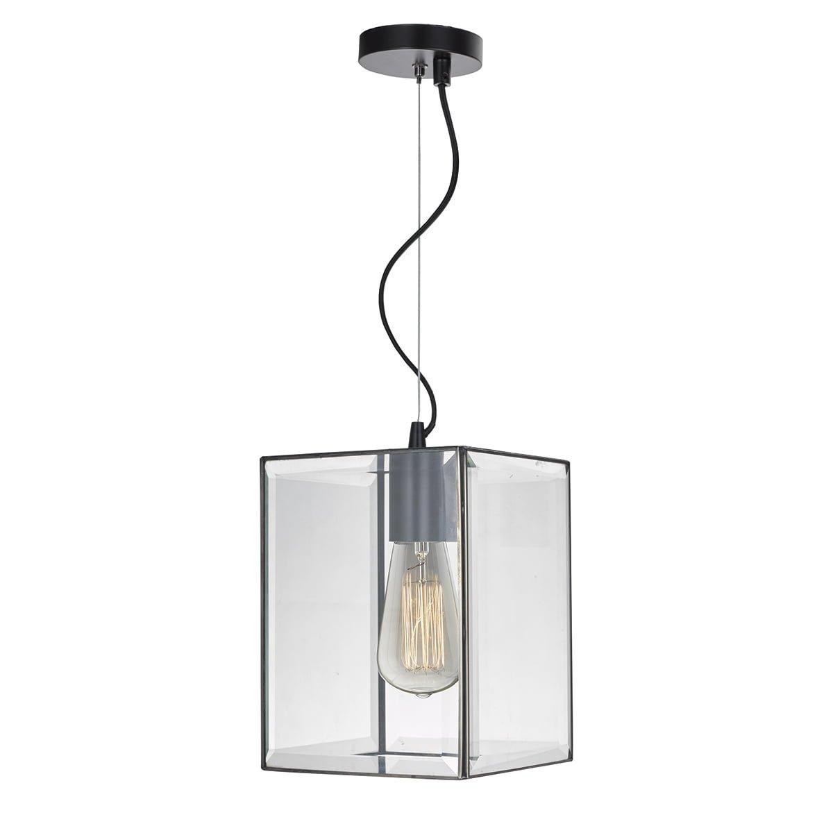 Dar LEN0122 Lento 1 Light Lantern Pendant in Black