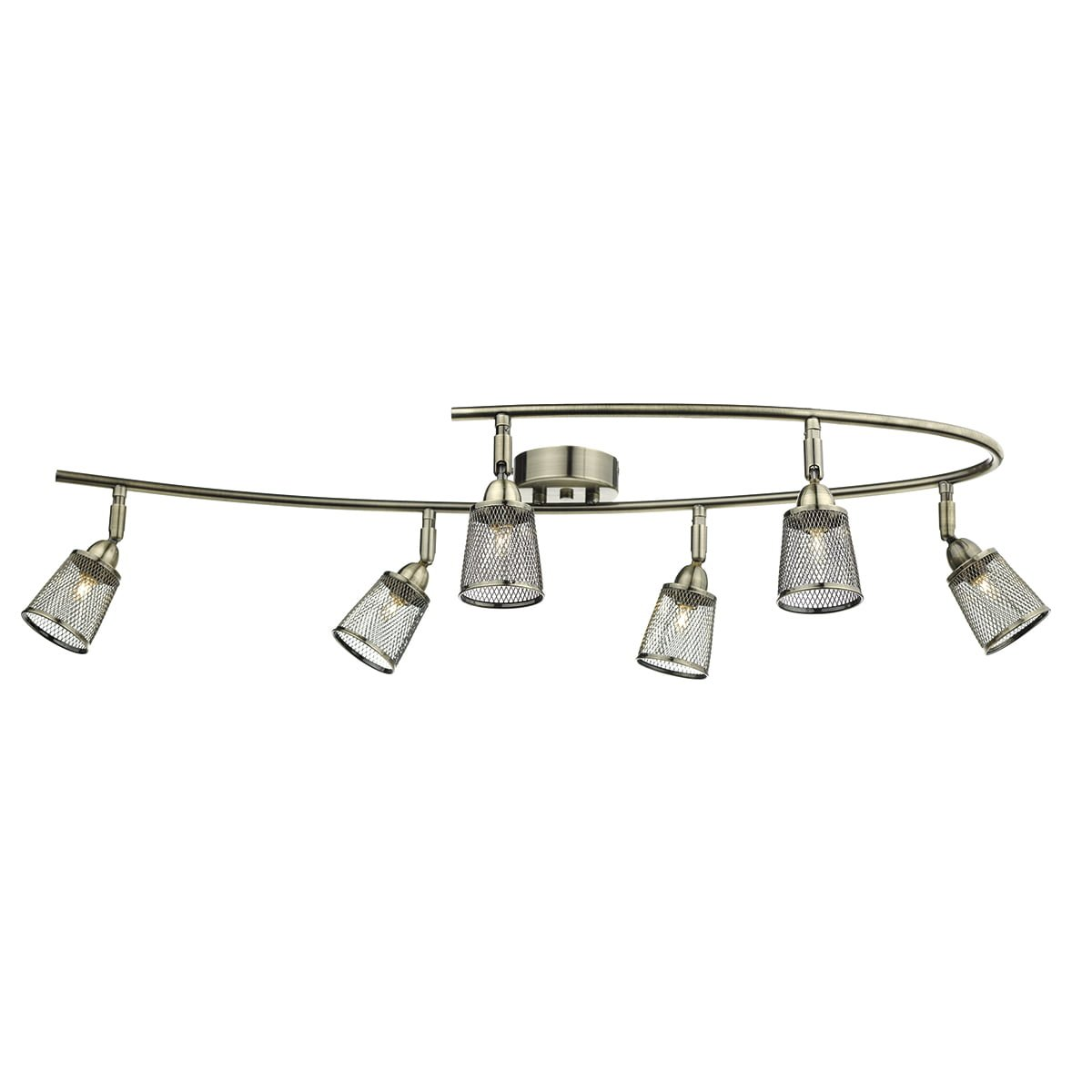 Dar LOW0675 Lowell 6 Light Semi Flush Spot Bar in Antique Brass