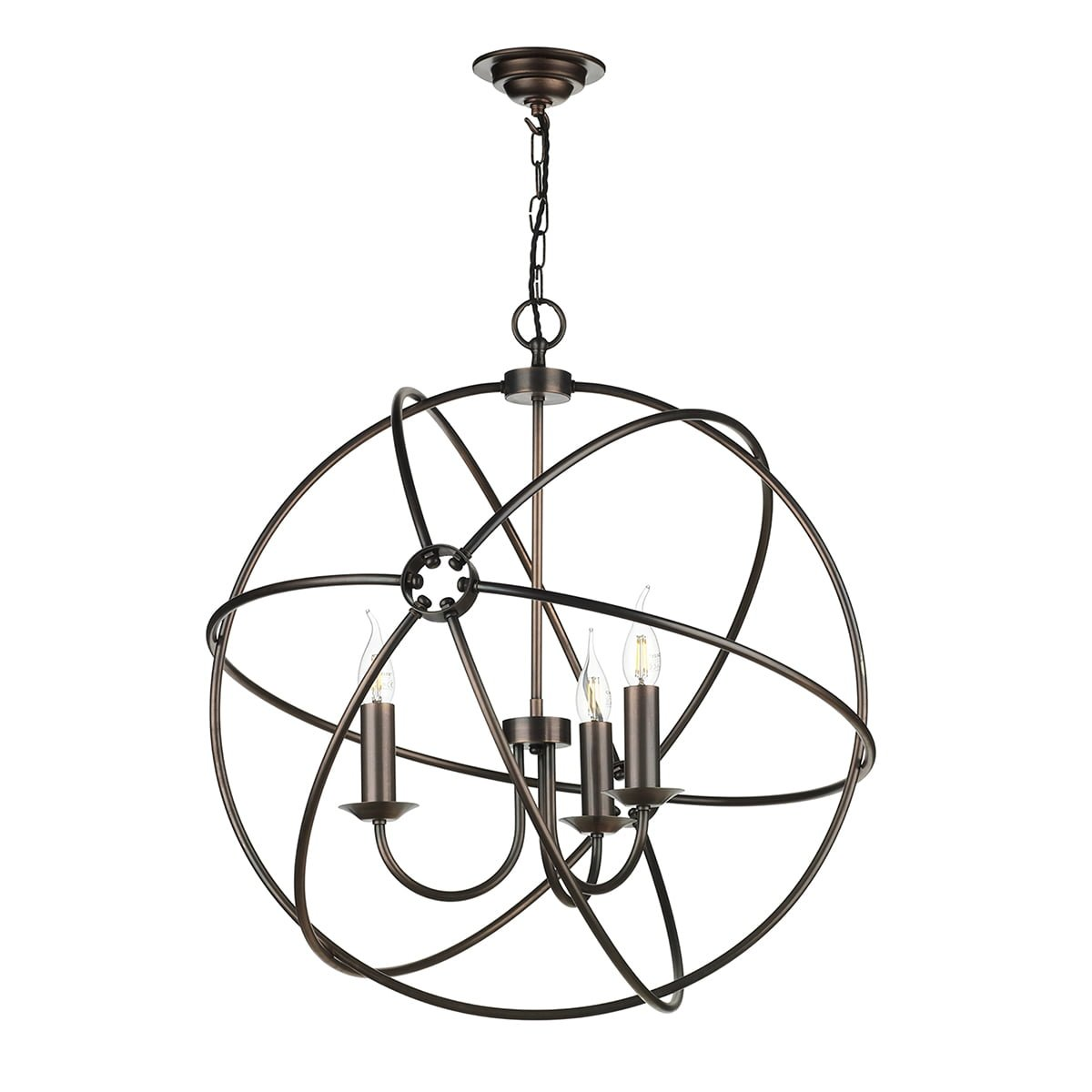 David Hunt Lighting ORB0364 Orb 3 Light Pendant in Antique Copper Finish