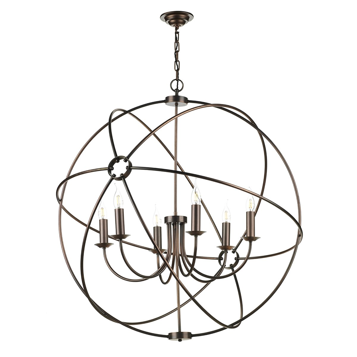 David Hunt Lighting ORB0664 Orb 6 Light Pendant in Antique Copper Finish