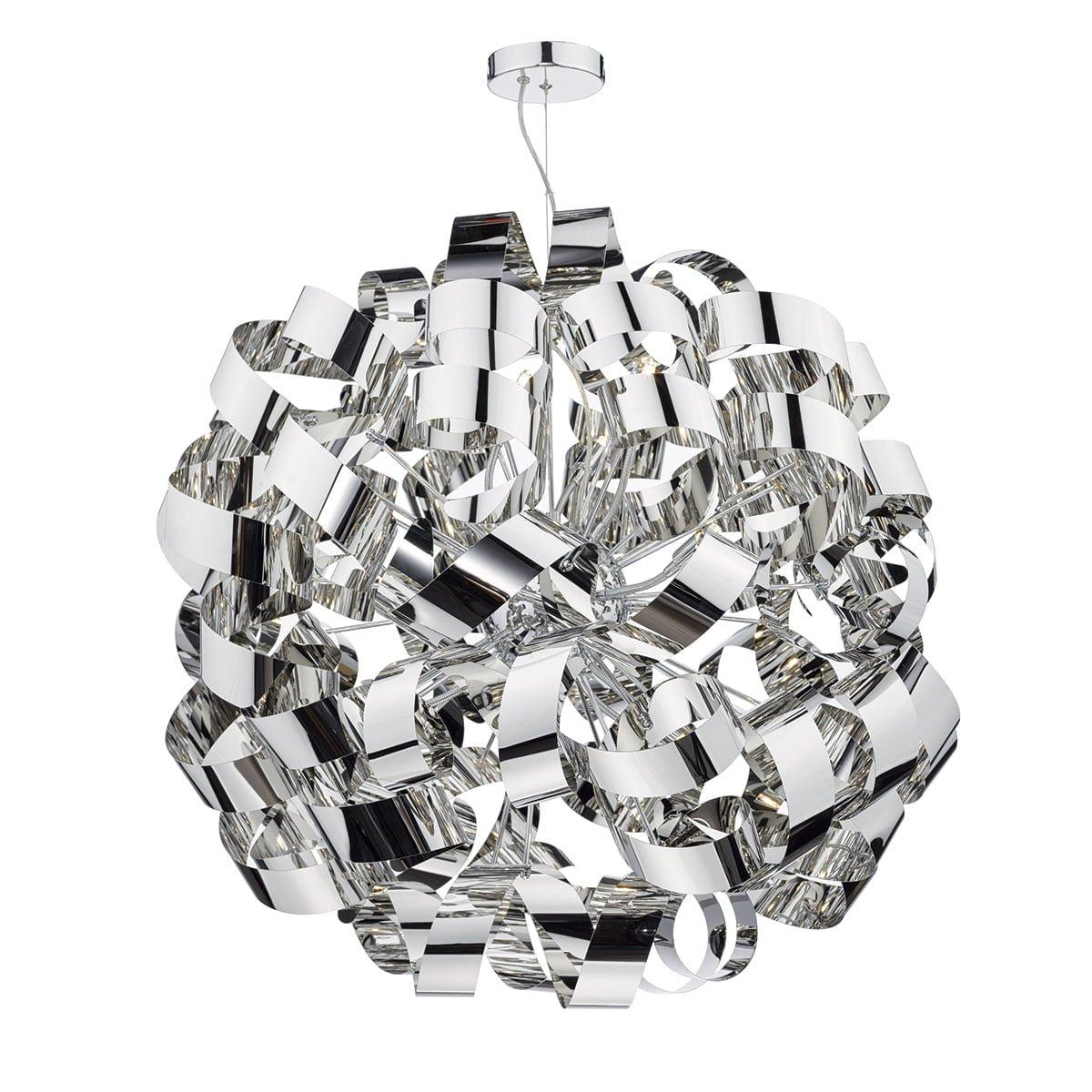 Dar RAW1255 Rawley 12 Light Ball Pendant in Polished Chrome