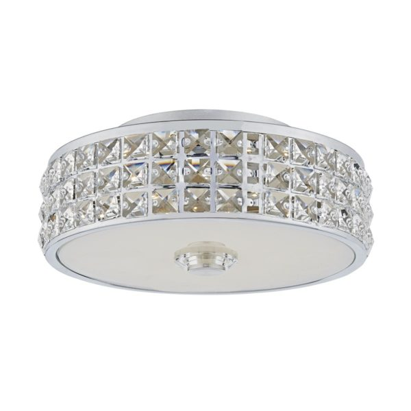 Dar REP5250/LED Repton LED Flush Fitting in Polished Chrome & Crystal