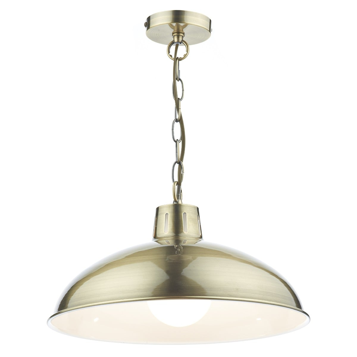 Dar ROL0175 Roland 1 Light Pendant in Antique Brass