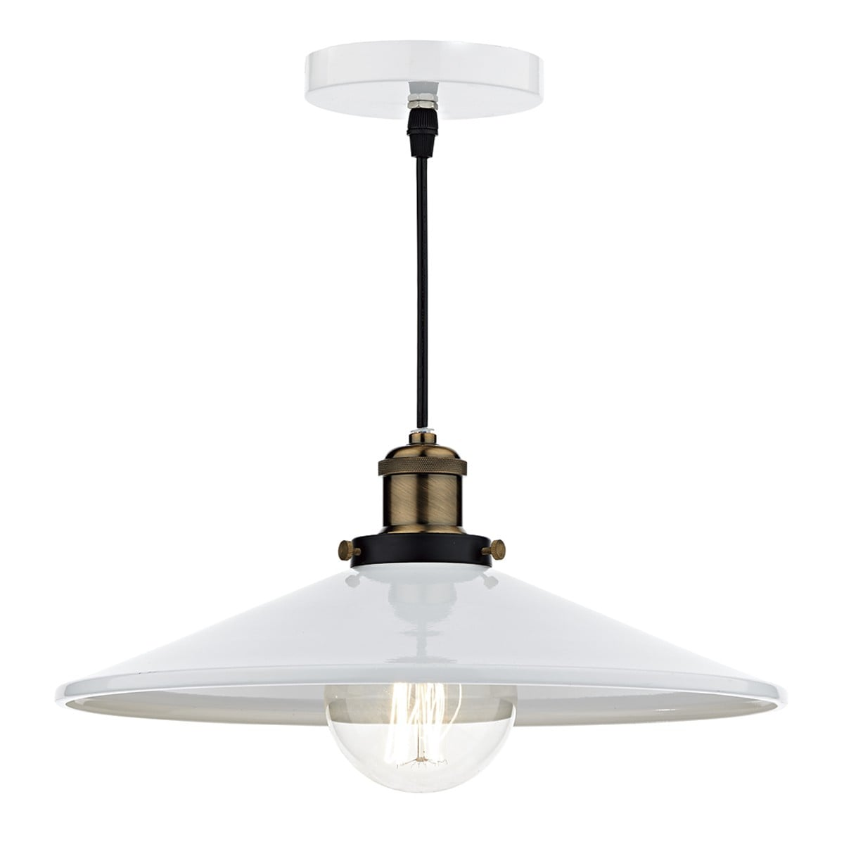 Dar ROO012 Roof 1 Light Pendant in White