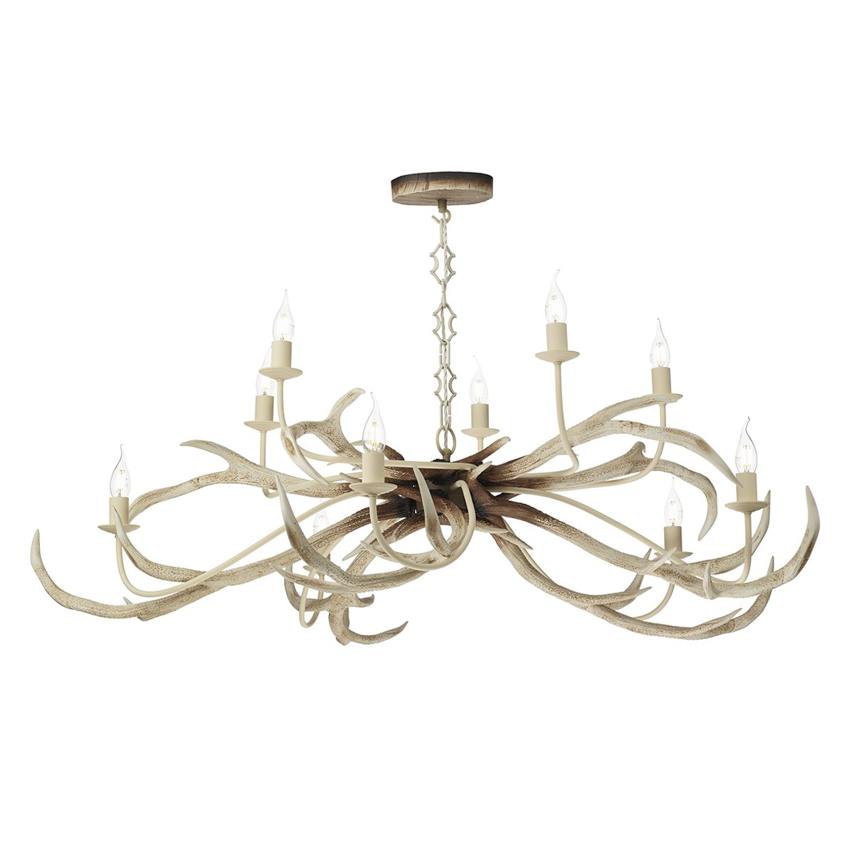 David Hunt Lighting STA2315 Stag 10 Light Pendant Bleached Hand Painted Finish