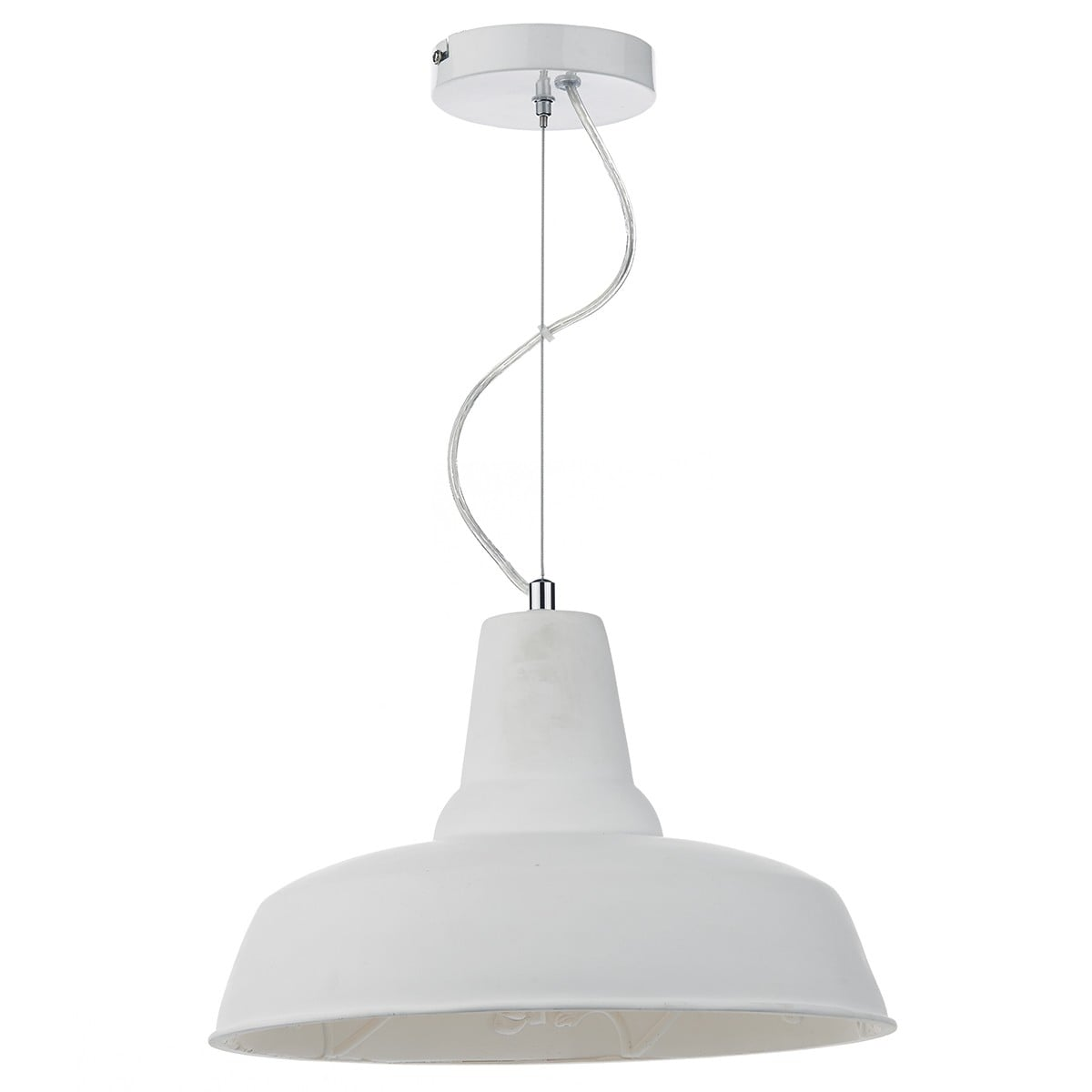 Dar SUS012 Susannah 1 Light Pendant in White.