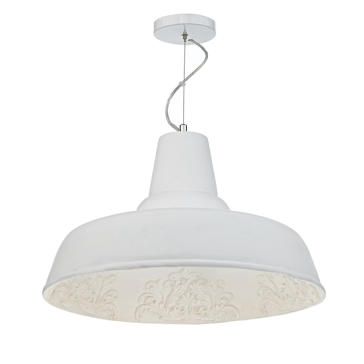 Dar SUS862 Susannah 1 Light Large Pendant in White.