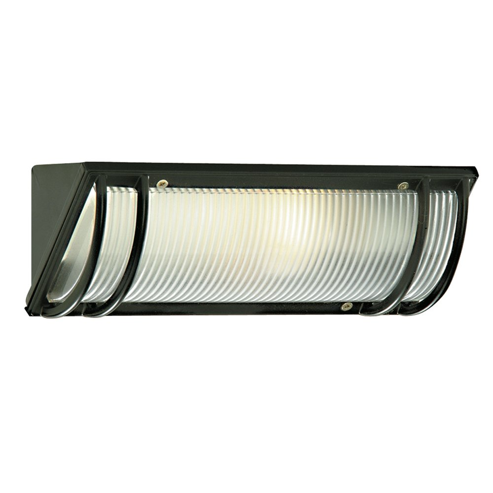 Searchlight 1819BK Black Outdoor Oblong Bulkhead with Ribbed Diffuser
