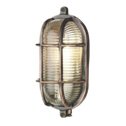 ADM5264 Admiral 1 Light Small Oval Wall Light in Antique Copper