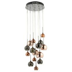 AUR1564 Aurelia 15 Light Pendant in Black Chrome & Mulitcoloured