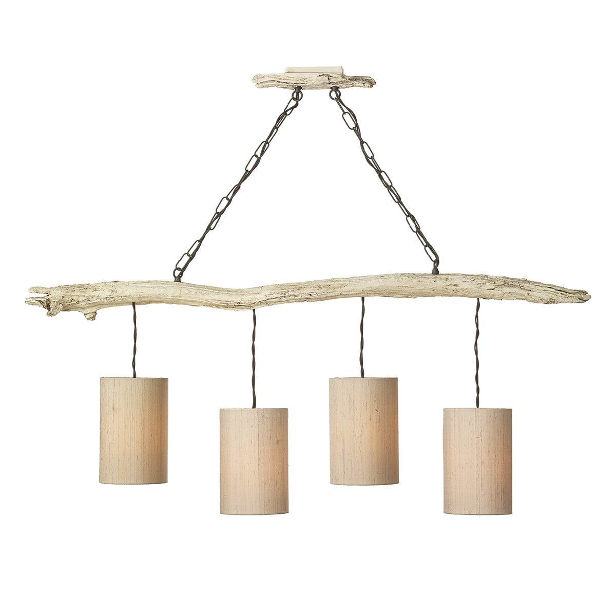Dar DRI0433 Driftwood 4 Light Bar Pendant complete with Shades