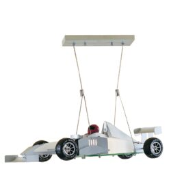 F1 Novelty Satin Silver Racing Car Light with Frosted Glass