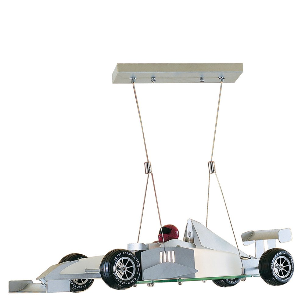 Searchlight F1 Novelty Satin Silver Racing Car Light with Frosted Glass