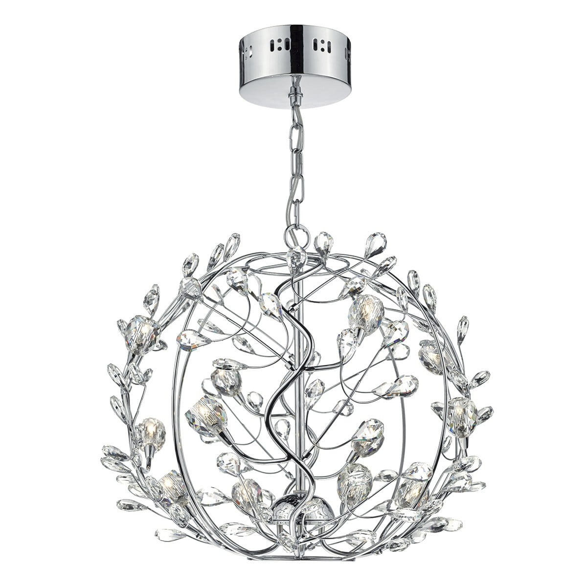 Dar FLI1250 Flirt 12 Light Ball Pendant in Polished Chrome & Crystal