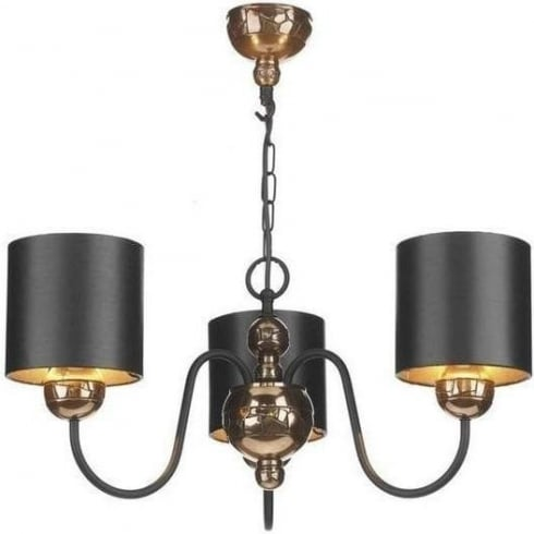 David Hunt Lighting GAR0321 Garbo 3 Light Pendant in Pewter Complete with Black &  Silver Shades
