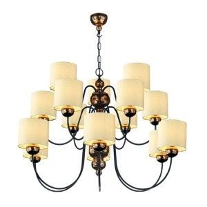 David Hunt Lighting GAR1515 Garbo 15 Light Pendant in Bronze Complete with Cream Shades
