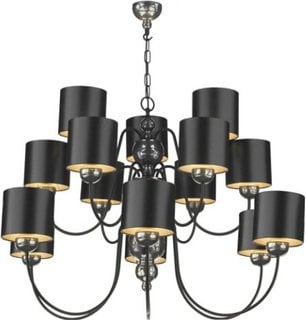 David Hunt Lighting GAR1573 Garbo 15 Light Pendant in Bronze Complete with B;ack/Bronze Shades