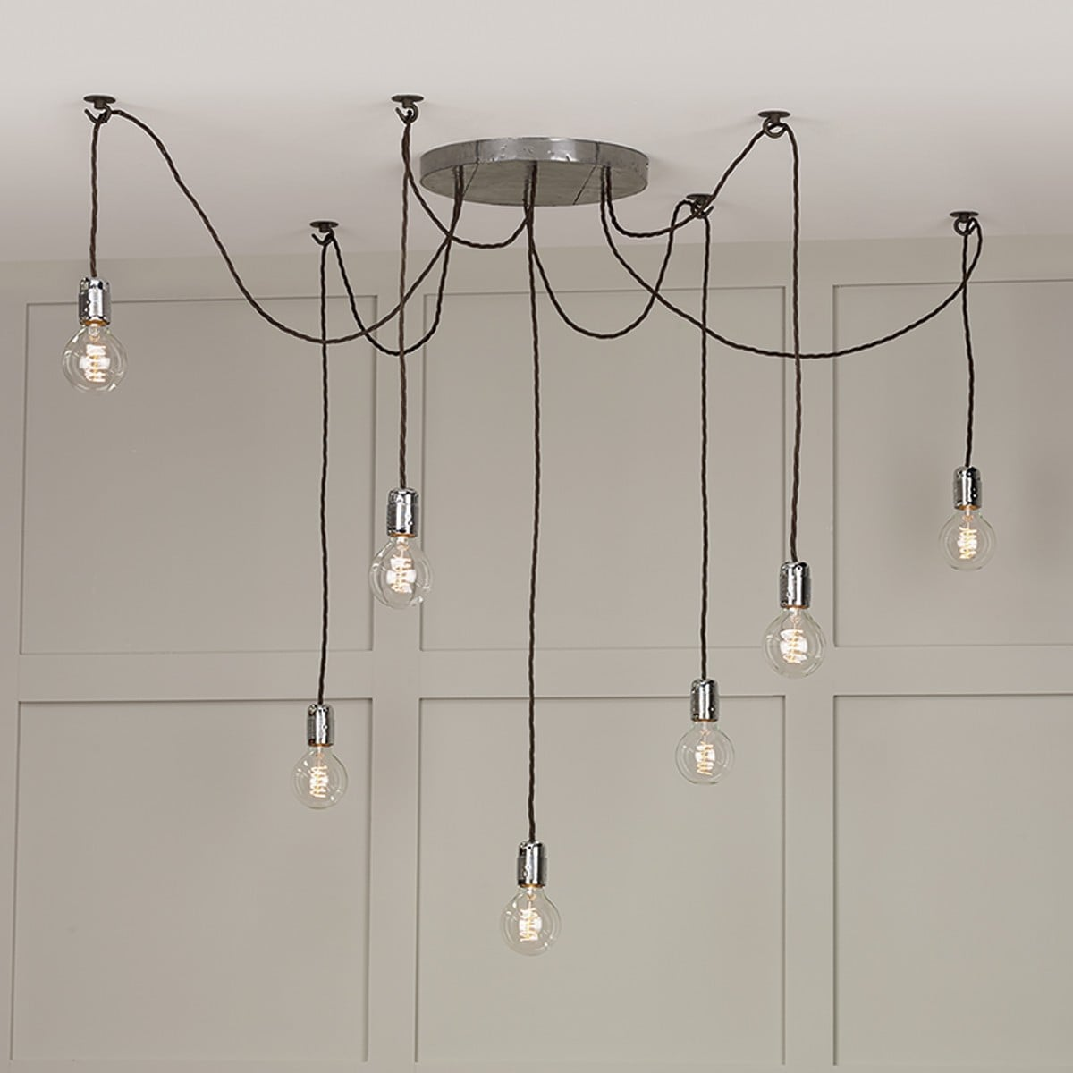 David Hunt Lighting HUC3439 Huckleberry 7 Light Pendant in Lead finish (Fitting only)
