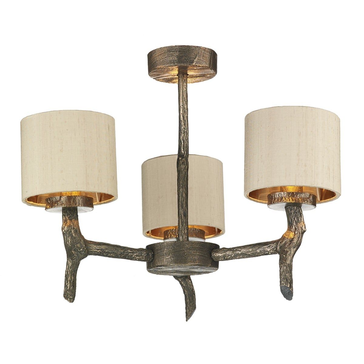David Hunt Lighting JOS0301 Joshua 3 Light Dual Mount Pendant in Bronze withTaupe shades