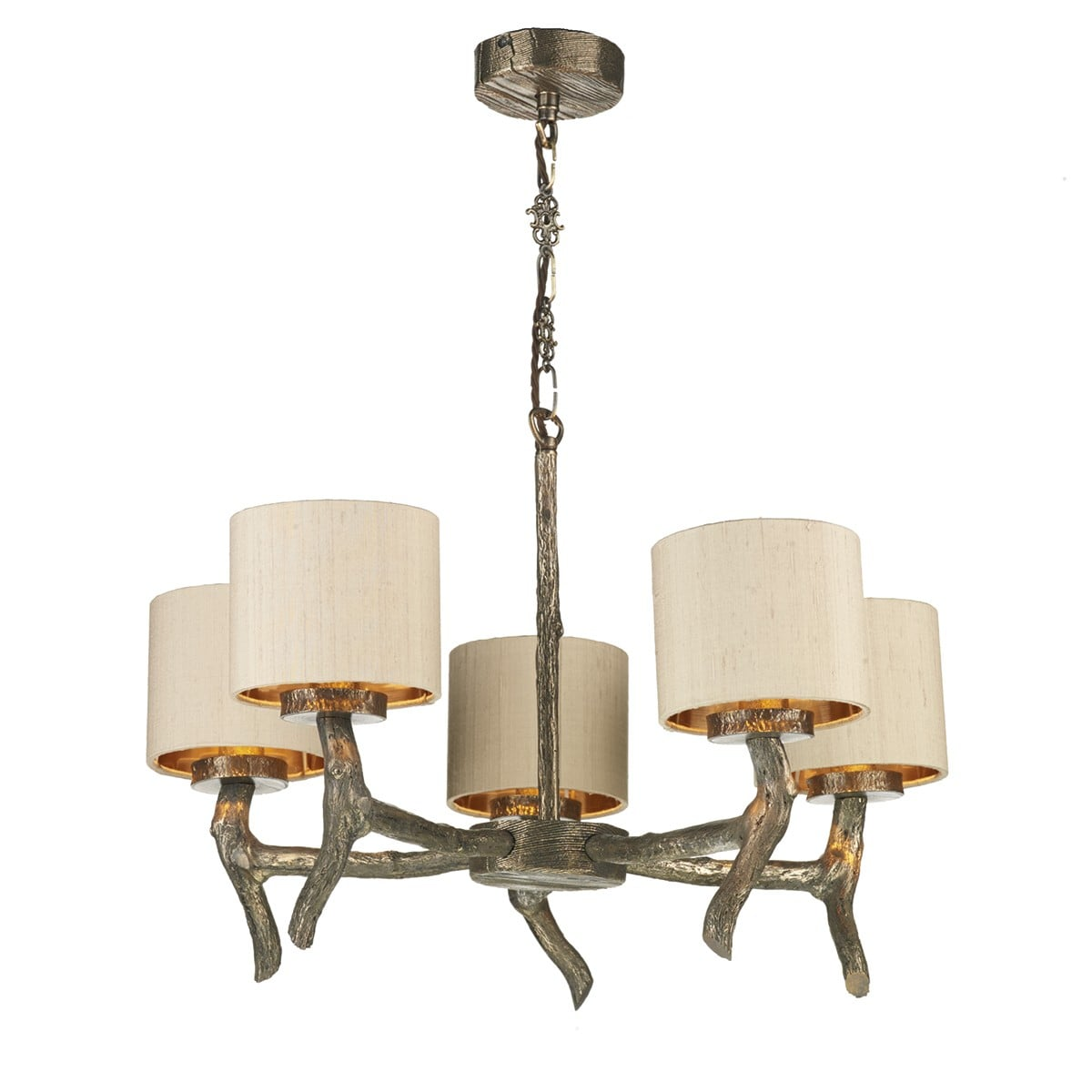 David Hunt Lighting JOS0501 Joshua 5 Light Dual Mount Pendant in Bronze withTaupe shades