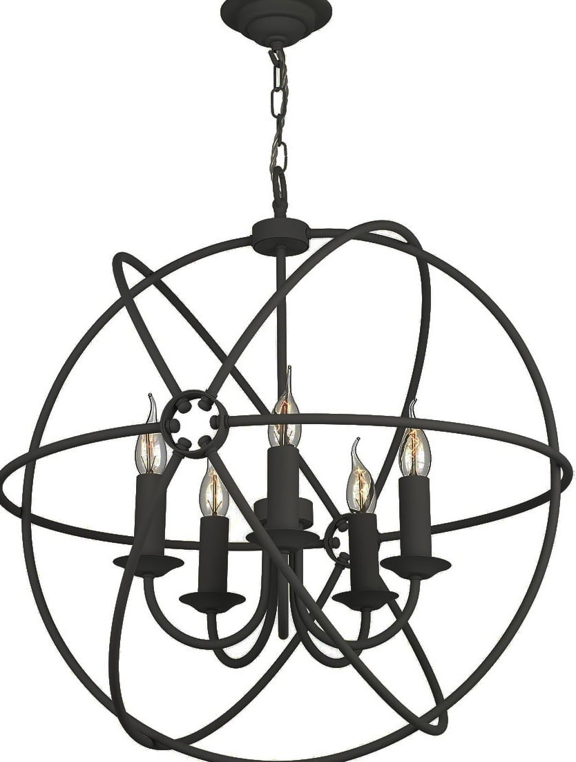 David Hunt Lighting ORB0522 Orb 5 Light Pendant in Black Finish