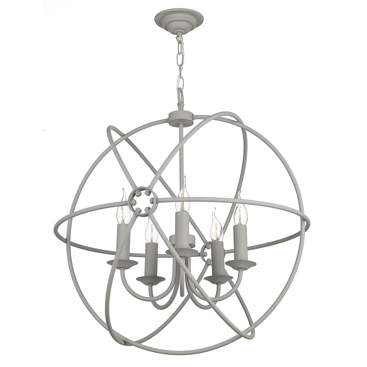 David Hunt Lighting ORB0539 Orb 5 Light Pendant in Ash Grey Finish