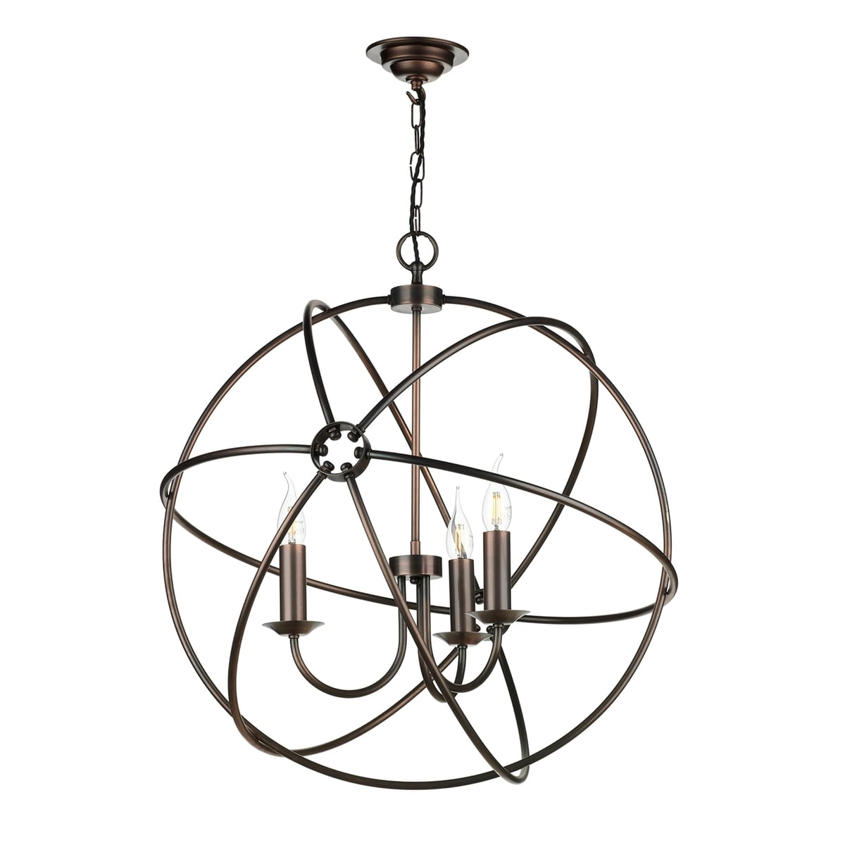 David Hunt Lighting ORB0564 Orb 5 Light Pendant in Antique Copper Finish