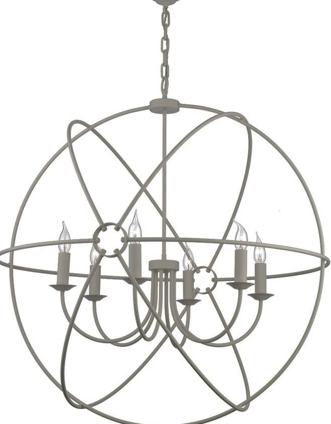 David Hunt Lighting ORB0639 Orb 6 Light Pendant in Ash Grey Finish
