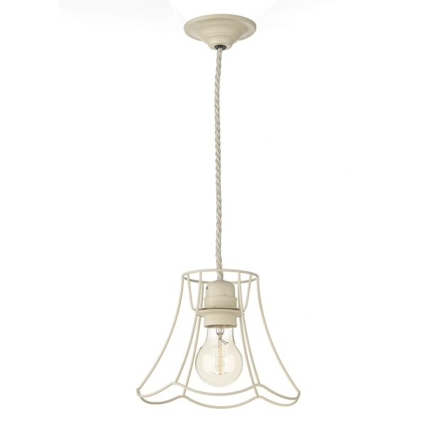 Dar ORE0133 Oregon 1 Light Small Pendant in tealight cream