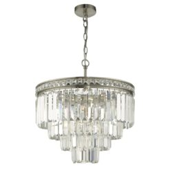 VYA0438 Vyana 4 Light Tiered Pendant in Nickel & Crystal