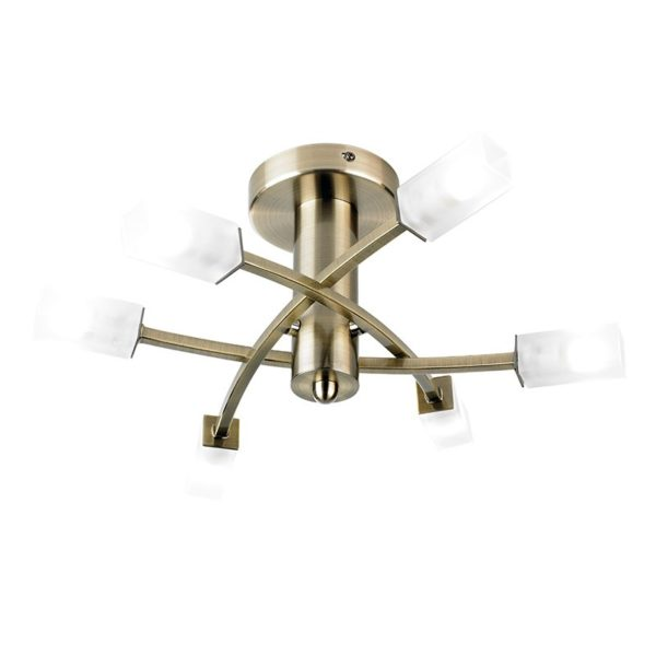 146-6AB Havana 6 Light Semi Flush in Antique Brass