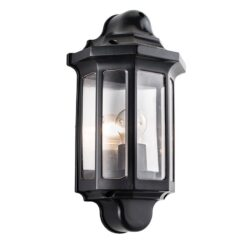 1818S Traditional Outdoor Half Wall Lantern in Satin Black
