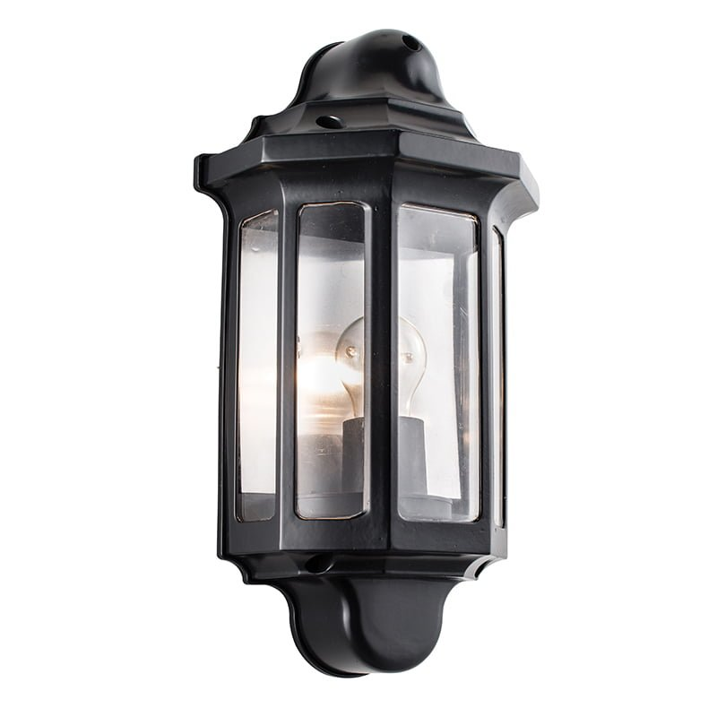 1818S Traditional Outdoor Half Wall Lantern in Satin Black Lighting Bug Swindon