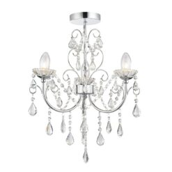 61251 Tabitha Bathroom 3 Light Semi Flush Fitting in Polished Chrome & Crystal