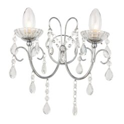 61385 Tabitha Bathroom Double Wall Light Polished Chrome & Crystal