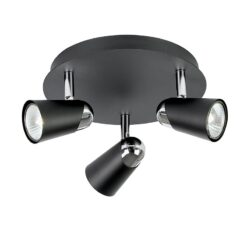 EL-10053 Civic 3 Light Spotlight in Round Plate in Black