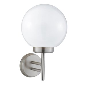 075 Globe Satin Silver Outdoor Wall Light