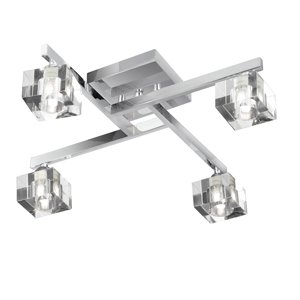1014-4CC Sculptured Ice Chrome 4 Light Semi-Flush