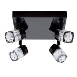 7884BC Blocs black chrome 4 light spotlight with ice cube glass