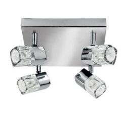 7884CC Blocs chrome 4 light spotlight with ice cube glass