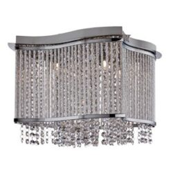 8323-3CC Elise Chrome 3 Light Semi Flush Fitting with Crystal Button Drops and Diamond Tubes Trim