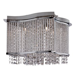 8324-4CC Elise Chrome 4 Light Semi Flush Fitting with Crystal Button Drops and Diamond Tubes Trim