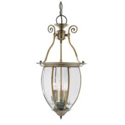 9501-3 Antique Brass 3 Light Lantern with Curved Bevelled Glass Shade