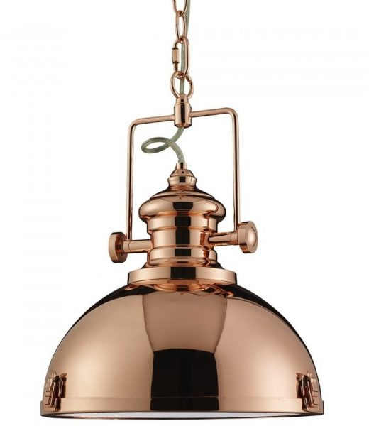 2297CU Copper Industrial Pendant Light with Acrylic Diffuser
