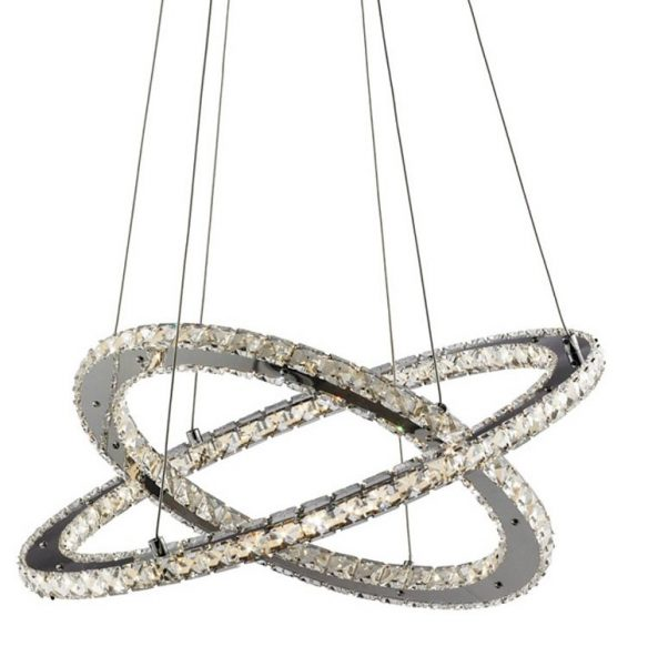 8757-168CC Clover chrome 168 LED 2 ring pendant light with clear crystal decoration