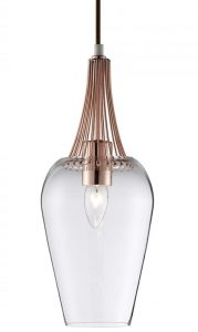 8911CU Whisk Pendant Light with Copper Trim and Clear Glass Shade is classic and stylish.